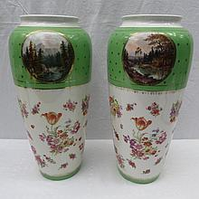 A pair of Continental vases of baluster form,