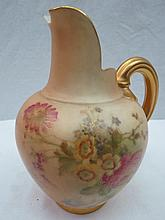 A Royal Worcester blush jug, decorated with