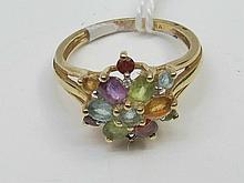 A 9ct multi stone dress ring with diamonds, 3g