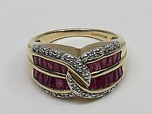 A ruby and diamond dress ring, two rows of
