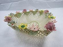 A Belleek heart shaped delicate flower encrusted