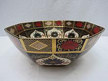 A Royal Crown Derby octagonal bowl back stamped