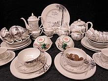 A Japanese eggshellware tea service, white with