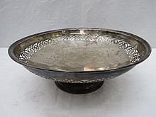 A large silver circular dish Barker Bros, Chester