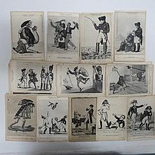 French early Napoleonic satirical cards unposted,