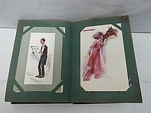 An old small postcard album with good selection of actresses, bathing beauties and scenic cards. A few Aldershot tattoo.
