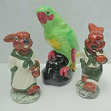 A Staffordshire figure of a parrot together with