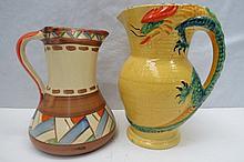 A Burleigh ware art deco jug with dragon handle