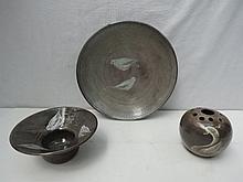 Three items of contemporary art pottery : pot