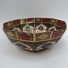 A Royal Crown Derby porcelain octagonal bowl in