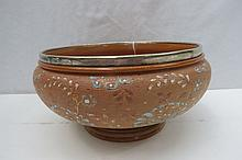 A large Doulton stoneware bowl with white metal