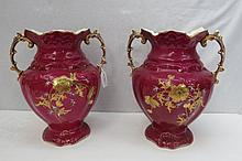 A pair of large late Victorian twin handled vases