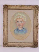 Mollie Forestier-Walker (1912-1990) pastel; portrait of a young boy in overalls, signed and dated M.