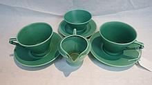 A Cauldon Art Deco 'tea for two' in matt green