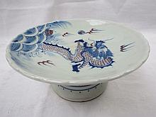 A Chinese dragon tazza on stem foot, 21cm dia.