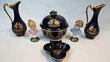 Four Limoges trinkets in blue and gold, also two