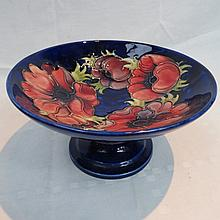 A Moorcroft comport with anemone design on a blue
