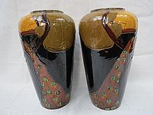 A pair of 20thC. pottery vases, of baluster form,