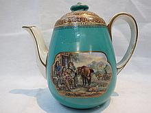 A 19thC. Pratt ware teapot for one, decorated with