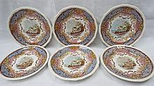 A set of six late 19thC. Copeland plates, the