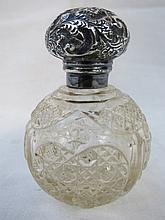 A late Victorian cut glass scent bottle with HM