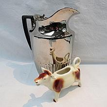A late 20thC Goebel Pottery cow creamer, the