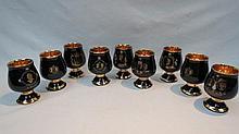 Nine Prinknash pottery commemorative wine cups