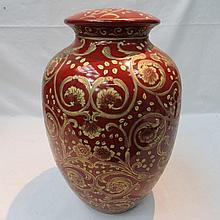 A 20thC baluster shaped ceramic lamp base the the