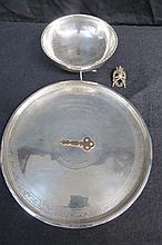 Silver (unmarked) 1930s oriental tray, 22cm dia;