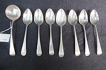 HM silver, seven Old English pattern dessert