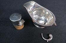 HM silver sauce boat (handle AF) London, also