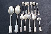HM silver fiddle pattern tableware including two
