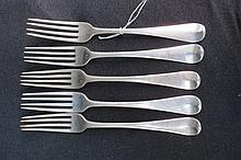 HM silver, five Old English pattern table forks,
