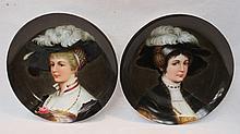 A pair of 19thC Viennese porcelain portrait plates