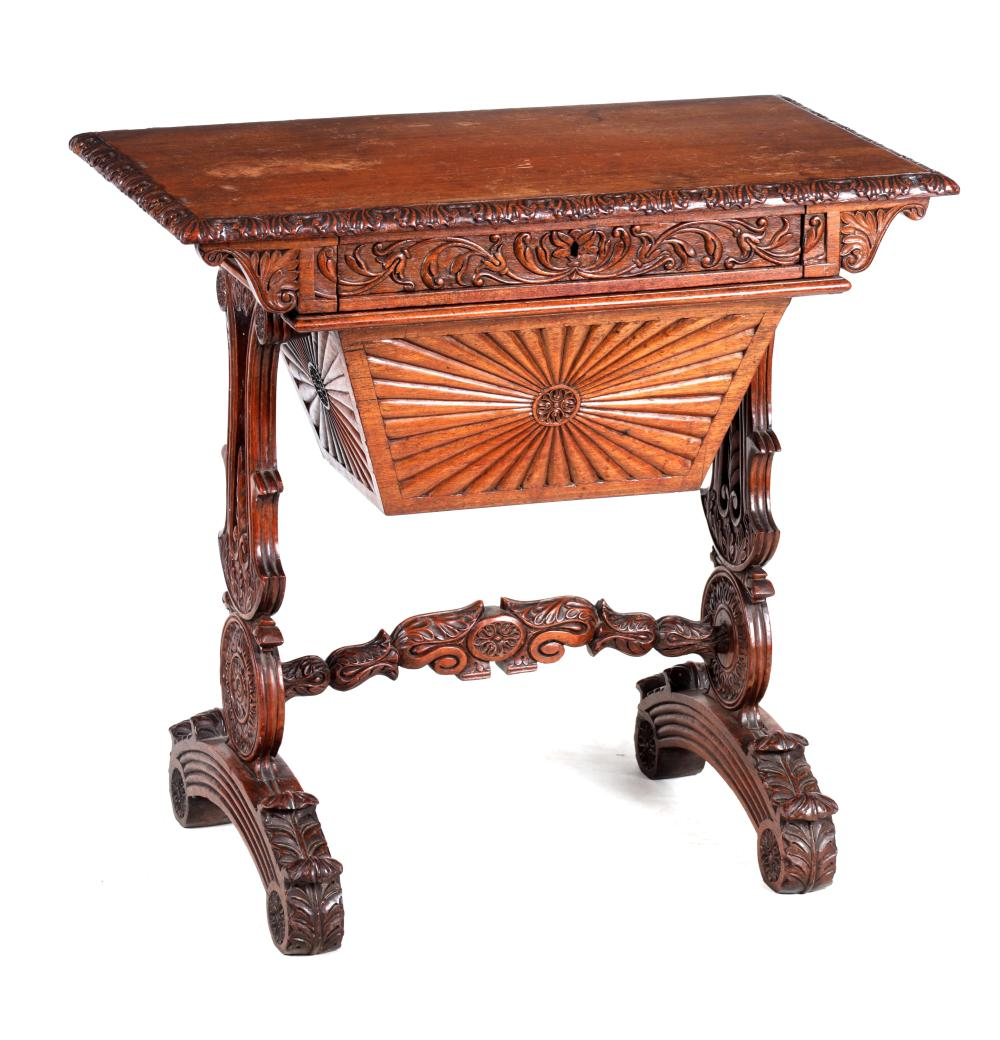 AN EARLY 19TH CENTURY ANGLO INDIAN HARDWOOD WORKBOX