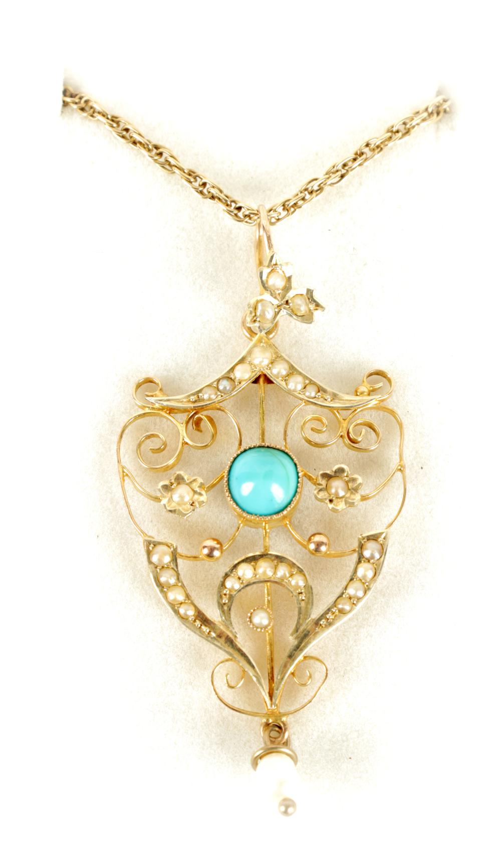 A LADIES 9CT GOLD PEARL AND TURQUOISE PENDANT ON 9CT GOLD NECKLACE