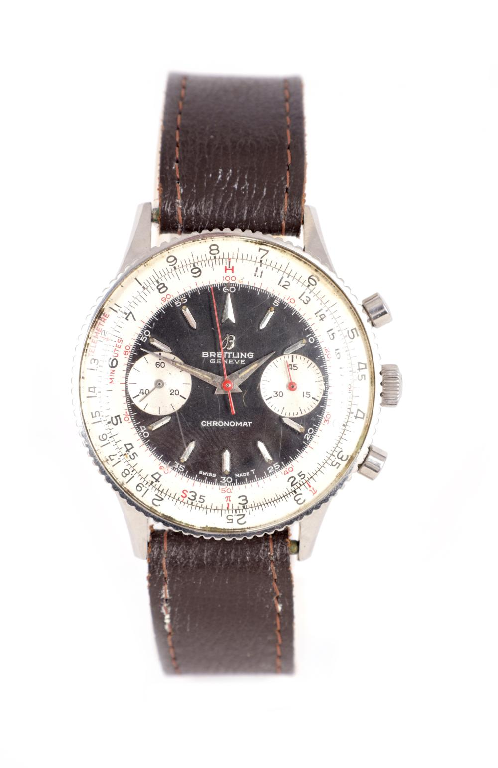 A 1960'S BREITLING GENTLEMAN'S CHRONOMAT STAINLESS STEEL MANUAL WIND CHRONOGRAPH WRISTWATCH
