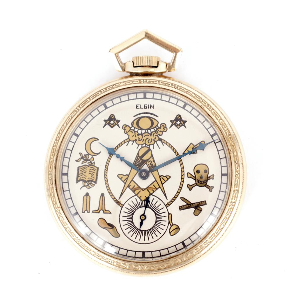 A 10CT ROLLED GOLD MASONIC POCKET WATCH BY ELGIN NATIONAL WATCH CO. USA
