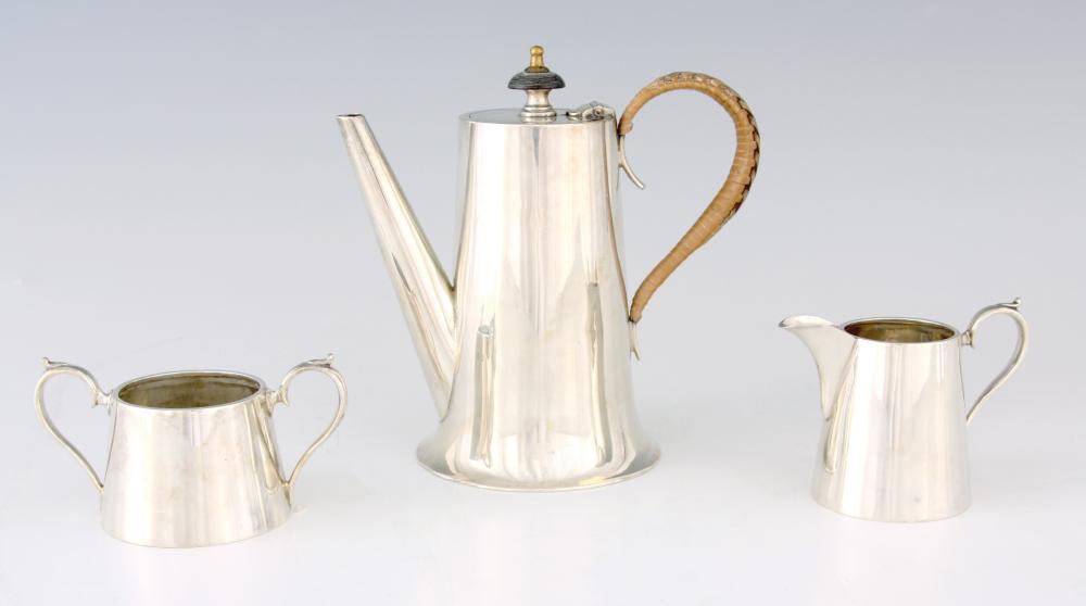 A 1920'S SILVER THREE PIECE TEA SET