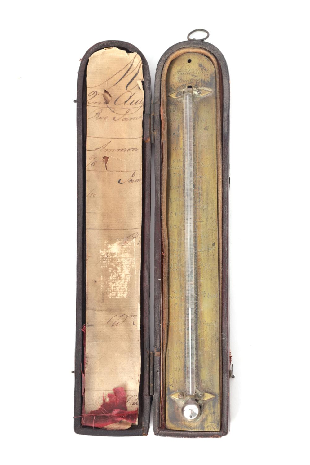 ANDERSON, LONDON. A GEORGE III CASED BRASS ENGRAVED POCKET THERMOMETER