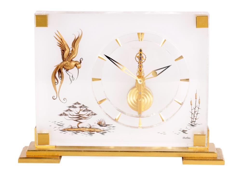 A MID 20TH CENTURY JAEGER LECOULTRE 'MARINA' BIRD OF PARADISE DESK CLOCK