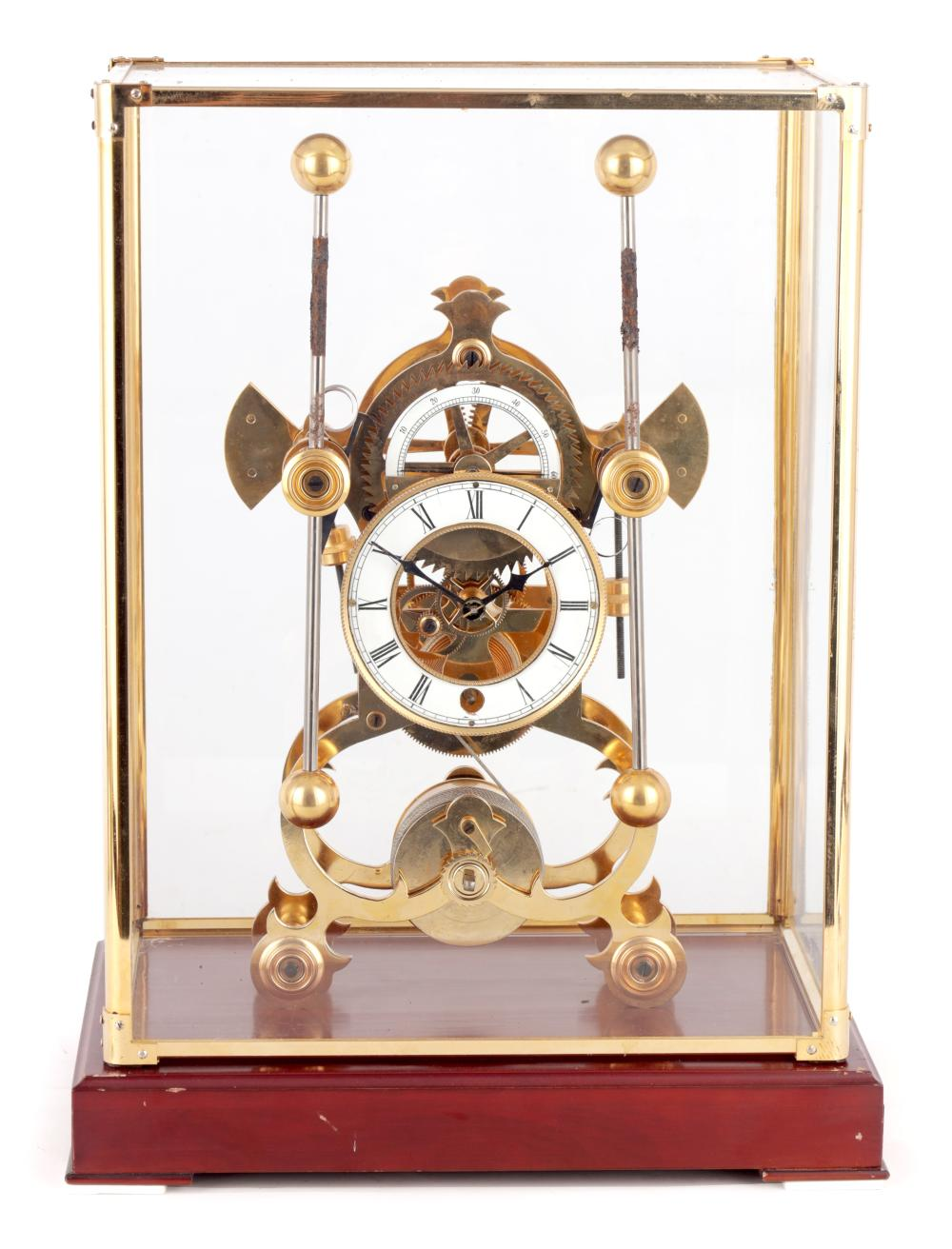 A 20TH CENTURY BRASS 'HARRISONS SEA CLOCK' STYLE SKELETON CLOCK