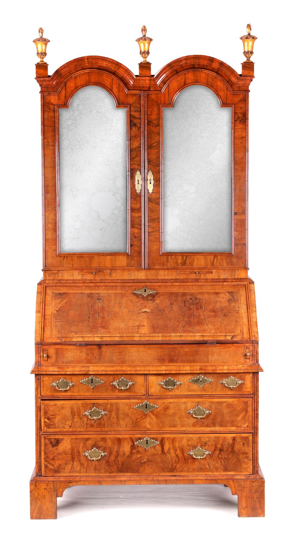 A WILLIAM AND MARY HERRING-BANDED AND FIGURED WALNUT BUREAU BOOKCASE