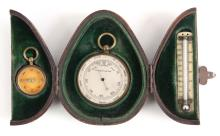 A LATE 19TH CENTURY POCKET BAROMETER AND COMPASS TRAVEL SET