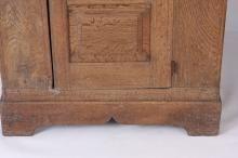 an early 17th century joined oak cupboard with open pierced - Antique Cabinets