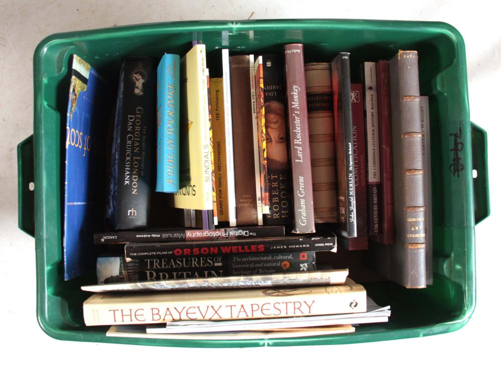A BOXED SELECTION OF BOOKS AND CATALOGUES.