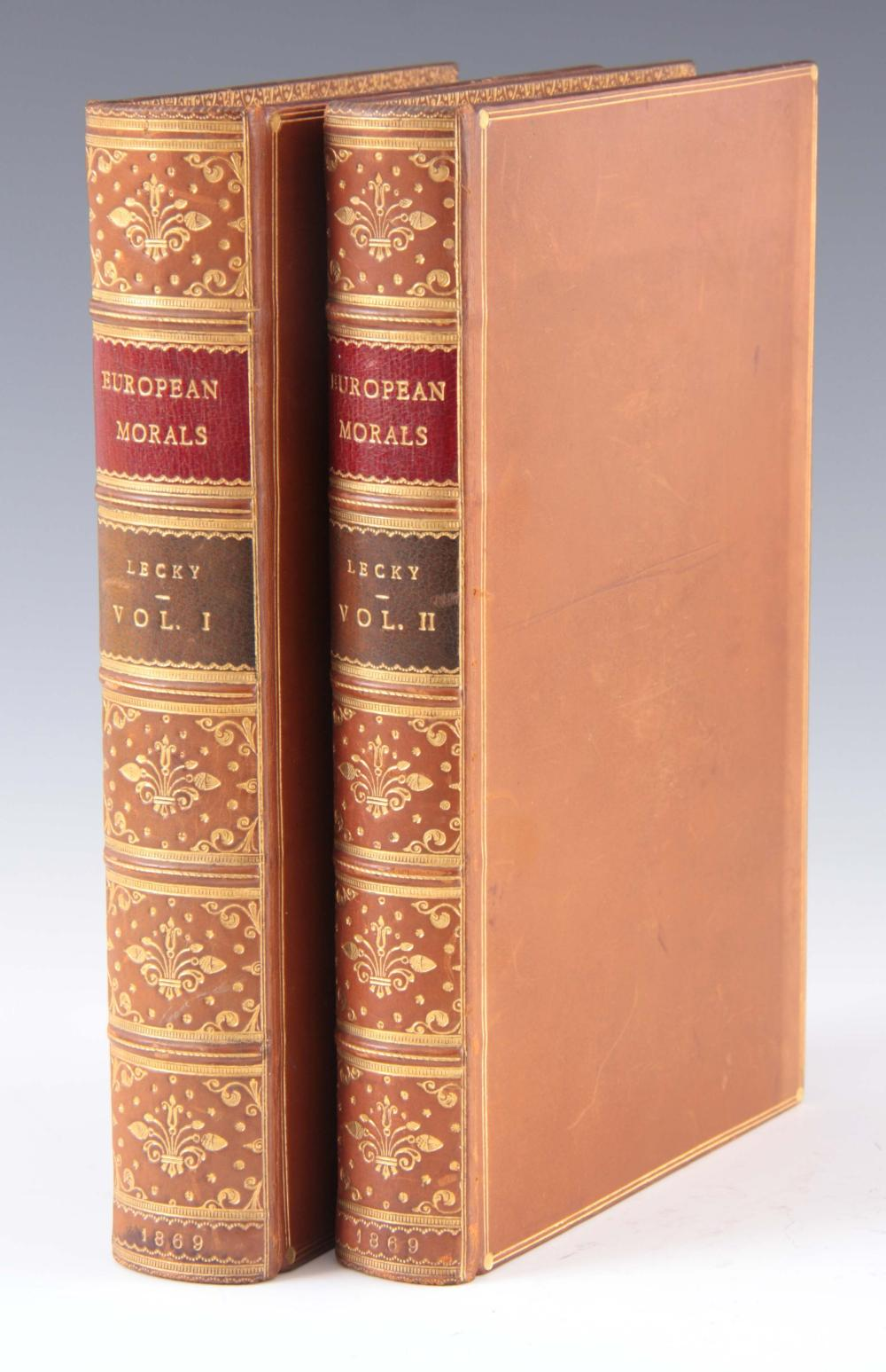 A 19TH CENTURY FINELY LEATHER BOUND TWO VOLUME sec