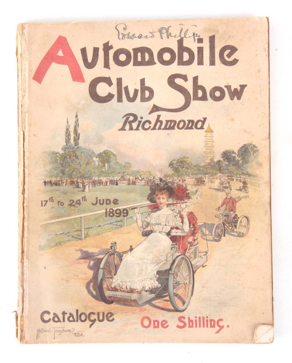 """A RARE CLUB SHOW CATALOGUE, """"AUTOMOBILE CLUB SHOW"""