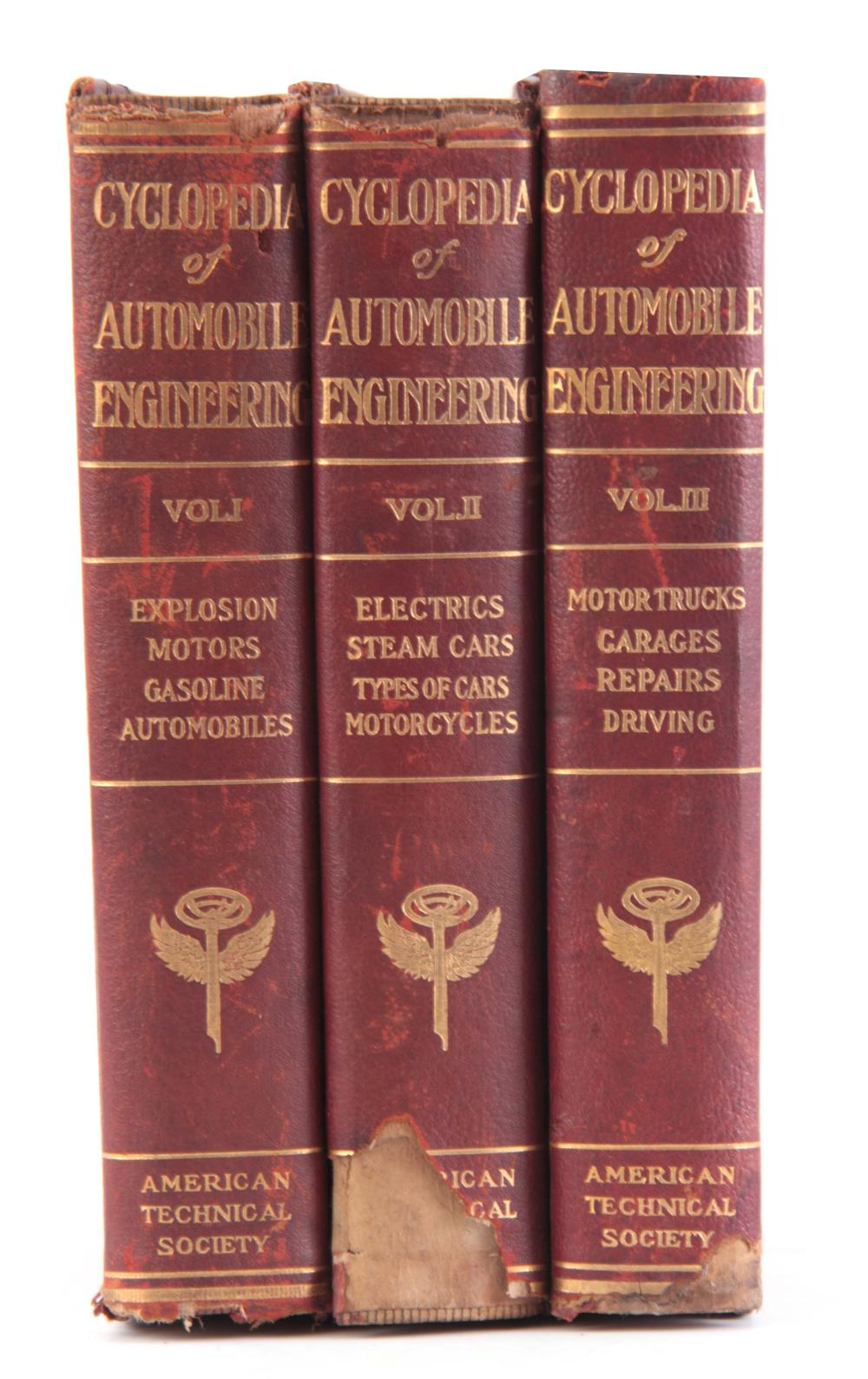 A SET OF 3 CYCLOPEDIA OF AUTOMOBILE ENGINEERING in