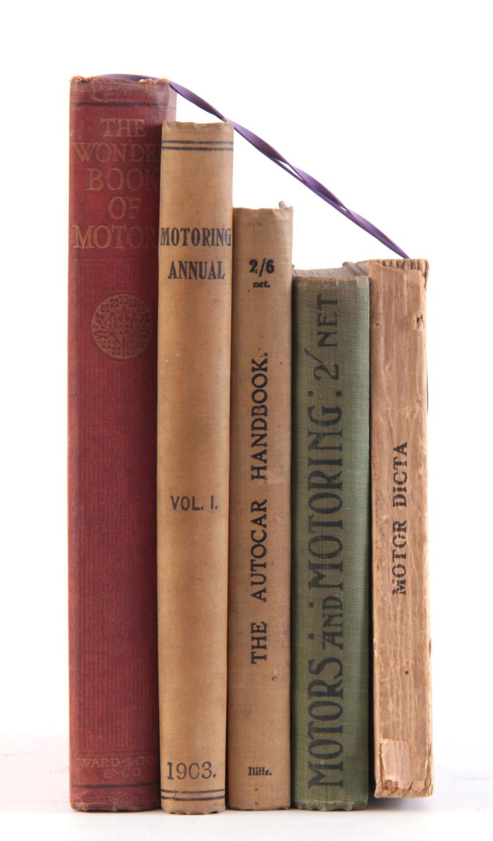 A COLLECTION OF 5 BOOKS including, MOTOR DICTA by